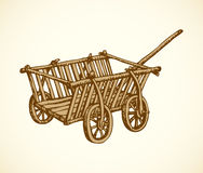 Vector drawing. Archaic wooden empty cart. Archaic wooden empty cart sketch isolated on white backdrop. Grunge freehand linear ink hand drawn background sketch Royalty Free Stock Photo