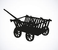 Vector drawing. Archaic wooden empty cart. Archaic wooden empty cart sketch  on white backdrop. Black ink hand drawn background sketch in art aged engraving Stock Photos