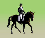 Rider athlete participating in dressage. Vector drawing athletes participating rider in dressage Stock Photos
