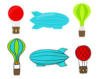 Vector drawing balloons and airship set Stock Image
