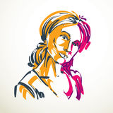 Vector drawing of beautiful tender woman, portrait in minimal st Stock Images