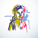 Vector drawing of beautiful tender woman, portrait in minimal Royalty Free Stock Photography
