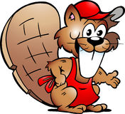 Vector drawing of an Beaver Serving Guests Royalty Free Stock Photography