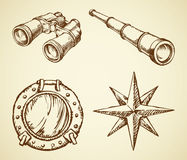 Vector drawing of binoculars, telescope, window, wind rose. Old navy ocean schoone ocular, map wind rose, search see spy glass, frigate metal scuttle  on white Royalty Free Stock Photography