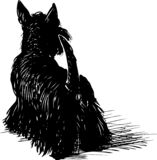 Vector drawing of a black scottish terrier. A sketch of a funny lap dog royalty free illustration