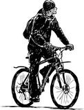 Bicyclist. Vector drawing boy on a bicycle vector illustration