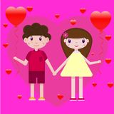 Vector drawing of a boy and girl with heart-shaped balloons on a romantic pink-purple background stock illustration