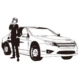Vector drawing of car and man Royalty Free Stock Photography