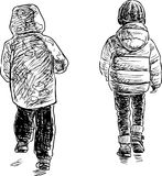 Sketches of the walking children Royalty Free Stock Photos