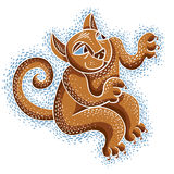 Vector drawing of cat playing, cute animal illustration. Cool ki Royalty Free Stock Images