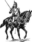 Cuirassier. Vector drawing of the cavalryman of the 19th eyelid stock illustration