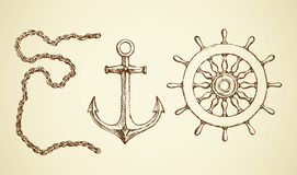 Vector drawing of chain, anchor and lifeline Stock Photos
