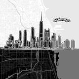 Chicago skyline with map stock illustration