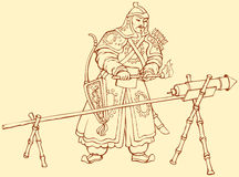 Vector drawing of Chinese warrior ignitor Hand Cannon. Vector line picture of ancient Chinese warrior with helmet, sword, bow and arrows, igniting cresset Royalty Free Stock Photo