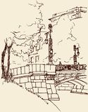 City bridge. Vector drawing of a city sketch stock illustration