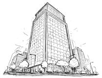 Vector Drawing of City Street High Rise Building Stock Photos