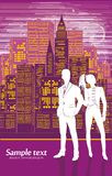Vector drawing of the cityscape and couple Stock Photography
