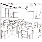Vector drawing of a class room Stock Photography
