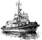 Coast Guard boat. Vector drawing of Coast Guard cutter royalty free illustration