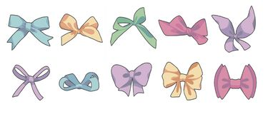 Vector drawing collection of different shaped colorful cartoon style gift wrapping or fashion ribbons and bows vector illustration