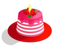 Vector drawing colorful cake of a decorated with decor, cream and fruits , on white background vector illustration