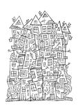 Vector drawing contour town Stock Image