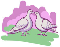 Vector drawing couples kissing doves Royalty Free Stock Image