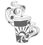Vector drawing cup of coffee or tea for any case Royalty Free Stock Image