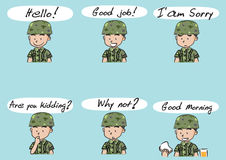 Vector drawing cute army Royalty Free Stock Image