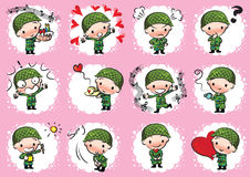 Vector drawing cute army Stock Photo