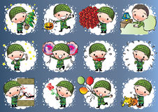 Vector drawing cute army Royalty Free Stock Photo