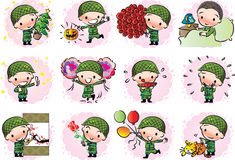 Vector drawing cute army Stock Images