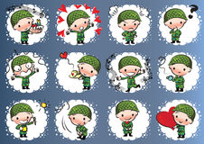 Vector drawing cute army Stock Image