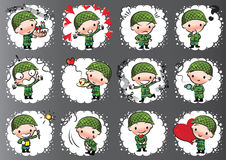 Vector drawing cute army Royalty Free Stock Photos