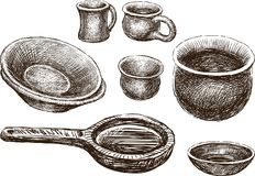 Sketches of the various clayware. Vector drawing of the different earthenware Royalty Free Stock Image