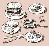 Varied food for breakfast. Vector drawing of the different meal of fast food Royalty Free Stock Photography