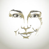 Vector drawing of distrustful woman, face features. Black Stock Photo