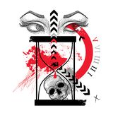 Vector drawing dotted skull, woman eyes, abstract arrow and hourglass in red and black  on white background. Royalty Free Stock Image
