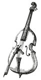 Vector drawing Double Bass with a bow Stock Photography