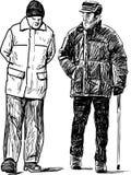 The seniors men on a walk Stock Photography