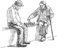 Seniors men play chess. Vector drawing of the elderly men playing a chess in a city park Royalty Free Stock Images