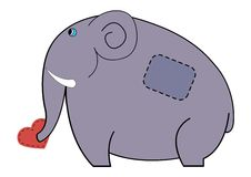 Cute elephant carrying in his trunk heart Stock Photo