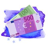 Vector drawing of a 100 and 500 Euro bills. Royalty Free Stock Photos