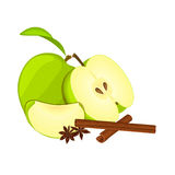 Vector drawing of a few apples with spice. Green apple fruits whole, half, slice and anise cinnamon. Group of tasty fruits colorful design for the packaging of Stock Photos