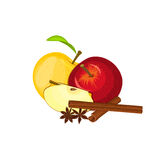Vector drawing of a few apples with spice. Yellow and red apple fruits  anise cinnamon Group  tasty  colorful design  Royalty Free Stock Image