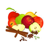Vector drawing of a few apples with spice. Stock Photography