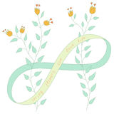 Vector drawing spring flowers with eight of ribbon, infinite endless belt. Royalty Free Stock Images