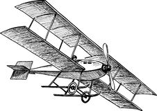 Ancient airplane. Vector drawing of the flying ancient airplane royalty free illustration