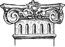 Fragment of antique column. Vector drawing of a fragment of antique column royalty free illustration