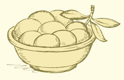 Vector drawing. Full bowl of ripe olives Stock Photography